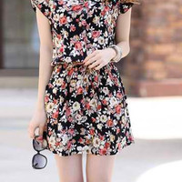 Black Floral Pattern V-Neck Mini Dress