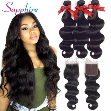 Sapphire Brazilian Hair Weave Body Wave Bundles with Closure 100% Human Hair Bundles 3 Bundles With Closure Hair Extension
