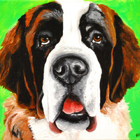 Saint Bernard Sticker Dog art print painting Original crafts scrap photo book