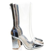 Betisa22 Silver By Cape Robbin, Lucite Clear Transparent Over Ankle Bootie w Chunky Block Heel, PVC
