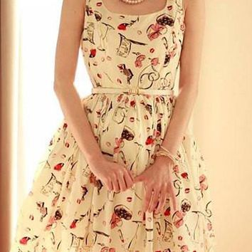 Light Apricot Donut Print Sleeveless Midi Dress