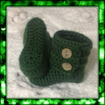 Irish Green Booties for Baby, Hand Crochet Infant Shoes, St. Patrick's Day Boots, MORE COLORS and Sizes Featuring Button Closure