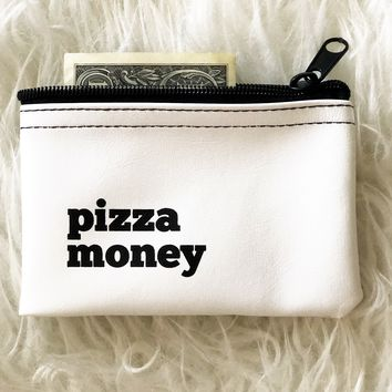 Pizza Money Vinyl Zip Pouch