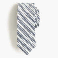 Irish linen-cotton tie in navy stripe