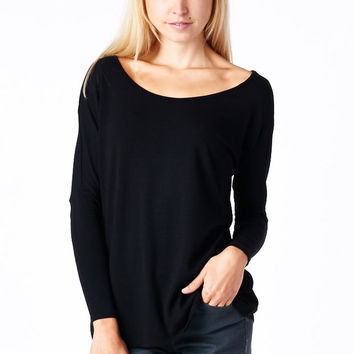 Black Long Sleeve Dolman Top
