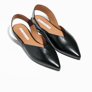 Sling-back Leather Flat - Black - Slippers - & Other Stories US
