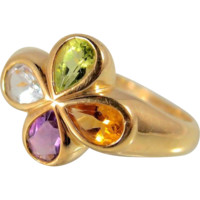 Tutti Frutti Colorful 18K stamped solid gold ring, Natural gemstones, Gold vibrant color clover