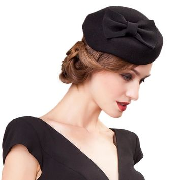Wool Black Pillbox Hats For Elegant Ladies