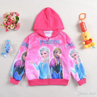 Hot Sale 2014 Autumn Frozen Hoodies Cartoon Elsa and Anna Children Clothing Kids Long Sleeve Sweatshirts Baby Girl Outwear.