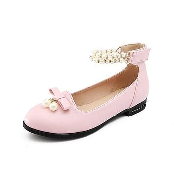 Pearls Mary Janes Low Heel Pumps Shoes 4786