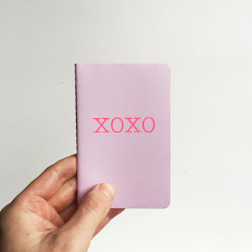 XOXO Small Pocket Journal/ Notebook - Pale purple, Hot pink , note book, Love, hugs & kisses, Lavender, minimal, lilac, wedding planner