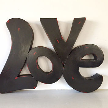 Large Love wall sign, bold statement, black distressed, metal wall decor
