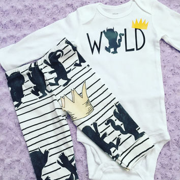 Wild one. Where the wild things are. Baby boy. Baby girl. Baby outfit. First birthday outfit.