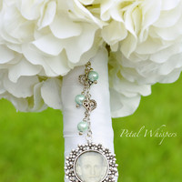 Mint Green Bridal Bouquet Charm - Wedding Bouquet Charm - Bouquet Memorial Charm - Bouquet Photo Pendant - Bridal Gift - Photo Pendant