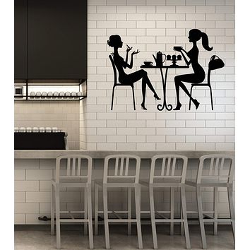 Vinyl Wall Decal Cafe Kitchen Two Beautiful Women Decor Art Stickers Mural (ig5480)