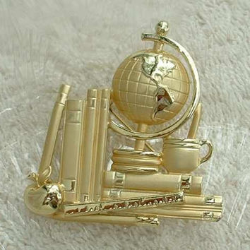 AJC Large Student Teacher Brooch Globe Books Apple Jewelry