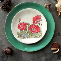 Mom's Gift, Red Poppy and Mint Ceramic Plate, Gardener Gift, 2 Flowery Lace Dessert Plate, Red Flower Serving Plate,  Poppy Trinket Dish