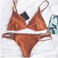 Sexy Brown Patch Split Bikini
