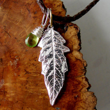 Southwestern Peridot and Silver Leaf Rustic Charm Necklace