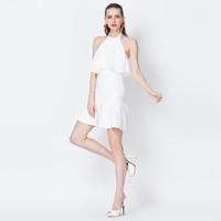 Casual White Sleeveless Ruffle Top Fishtail Mini Dress