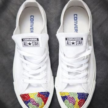 Colourful camo all white converse trainers