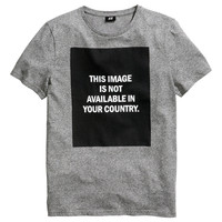 H&M - T-shirt with Printed Design - Gray melange - Men