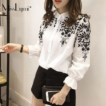 XXXL 4XL 5XL Plus Size Shirt Women 2017 Spring Korean Fashion Floral Embroidery Stand Collar Long Sleeve Loose Casual Blouses