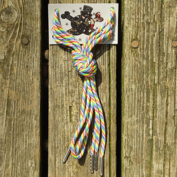 Rainbow Paracord Shoelaces/ Silver Aglet Tipped by American Anarchy Brand