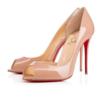 Best Online Sale Christian Louboutin Cl Demi You Nude Patent Leather 100mm Stiletto Heel Fw15