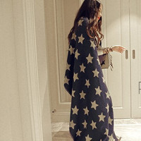 Dark Blue Star Print Fringed Scarf