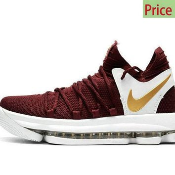 Where To Buy Youth Big Boys KD 10 X Burgundy Gold Wine CAVS Color shoe