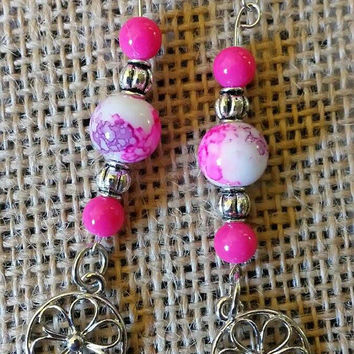 Pink and Silver Flower Earrings
