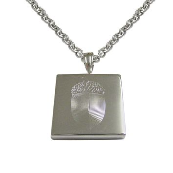 Silver Toned Etched Square Acorn Pendant Necklace