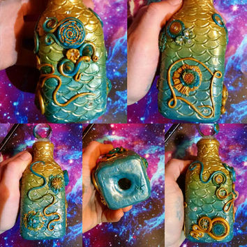 Mystical Mermaid Abstract Decorative Glass & Clay Bottle