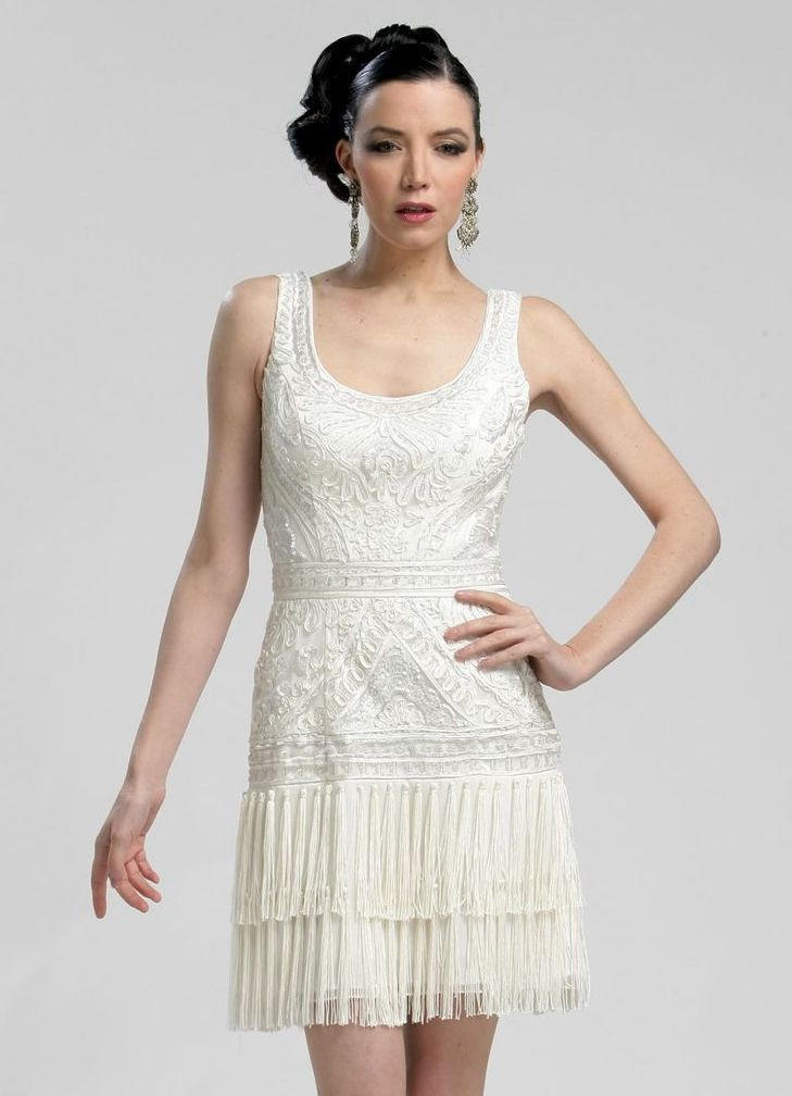 Sue Wong N3207 Fringe Flapper Dress White from myprimabella
