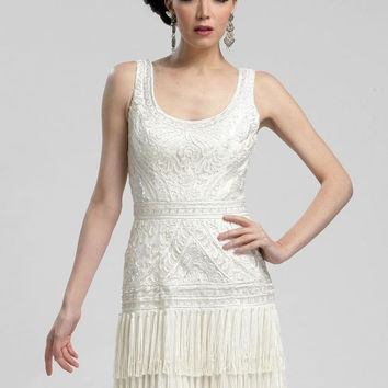 Sue Wong N3207 Fringe Flapper Dress White