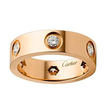 8DESS Cartier Woman Men Fashion Diamonds Plated Ring