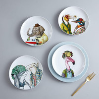 Dapper Animal Salad Plates - Spring | west elm UK