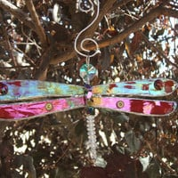 Red dragonfly iridescent suncatcher
