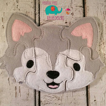 Felt wolf puzzle embroidered embroidery, jigsaw puzzle, learning toy, activity, quiet game, kids toys, montessori, homeschool, busy book
