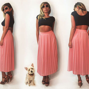 Vintage 1970's High Waisted Diane Von Furstenberg DVF Pleated Rose Petal Pink Accordion Pleated Secretary Skirt || Size 2 Size 4