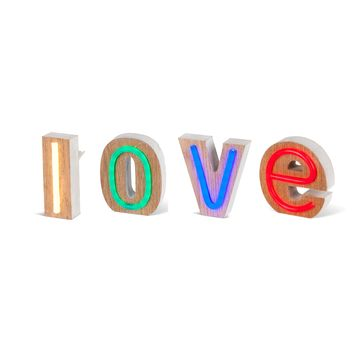 LED Neon Style Lighted Letters - LOVE - Wood Block - Battery Operated