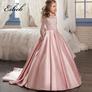 Eslieb Lace Flower Girl Dresses for Weddings 2017 Pink Kids Evening Dress Holy Communion Dresses For Girls Pageant Gowns