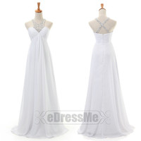 white Rhinestones sweetheart Ruched Backless Long Prom Dress/ Prom Dress/Evening Dress/Party Dresses e3046
