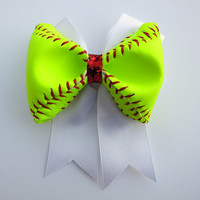 Double Loop Real Softball Bow with Glitter Center