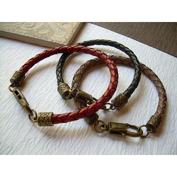 Mens Red Braided Leather Bracelet with Antique Bronze Hardware, Mens Bracelet, Mens Jewelry,Fathers Day,Leather Jewelry, Leather Bracelet