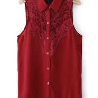 Embroidered Burgundy Lace Top