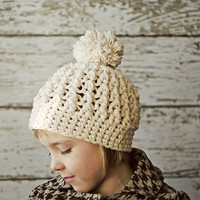 Ivory Crochet Hats for Girls, Crochet Hat with Pom Poms, Children's Hat, Crochet Pompom Hats for Kids, 2T to 4T, 5T to Preteen
