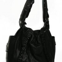Jessica Simpson Leather Julian Ruffle Tote BlackHobo Handbag