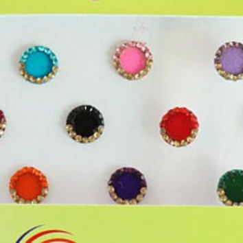 16 Round Bindis Jewels,Wedding Round Bindis,Velvet Colorful Bindis,Indian Colorful Face  Bindis,Bollywood Bindis,Self Adhesive Stickers